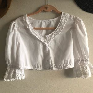 Tops - Romantic Vintage Blouse Puff Sleeve Embroidery